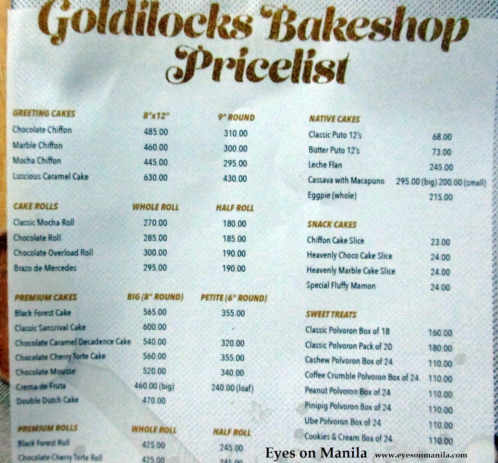 Goldilocks Menu Price List
