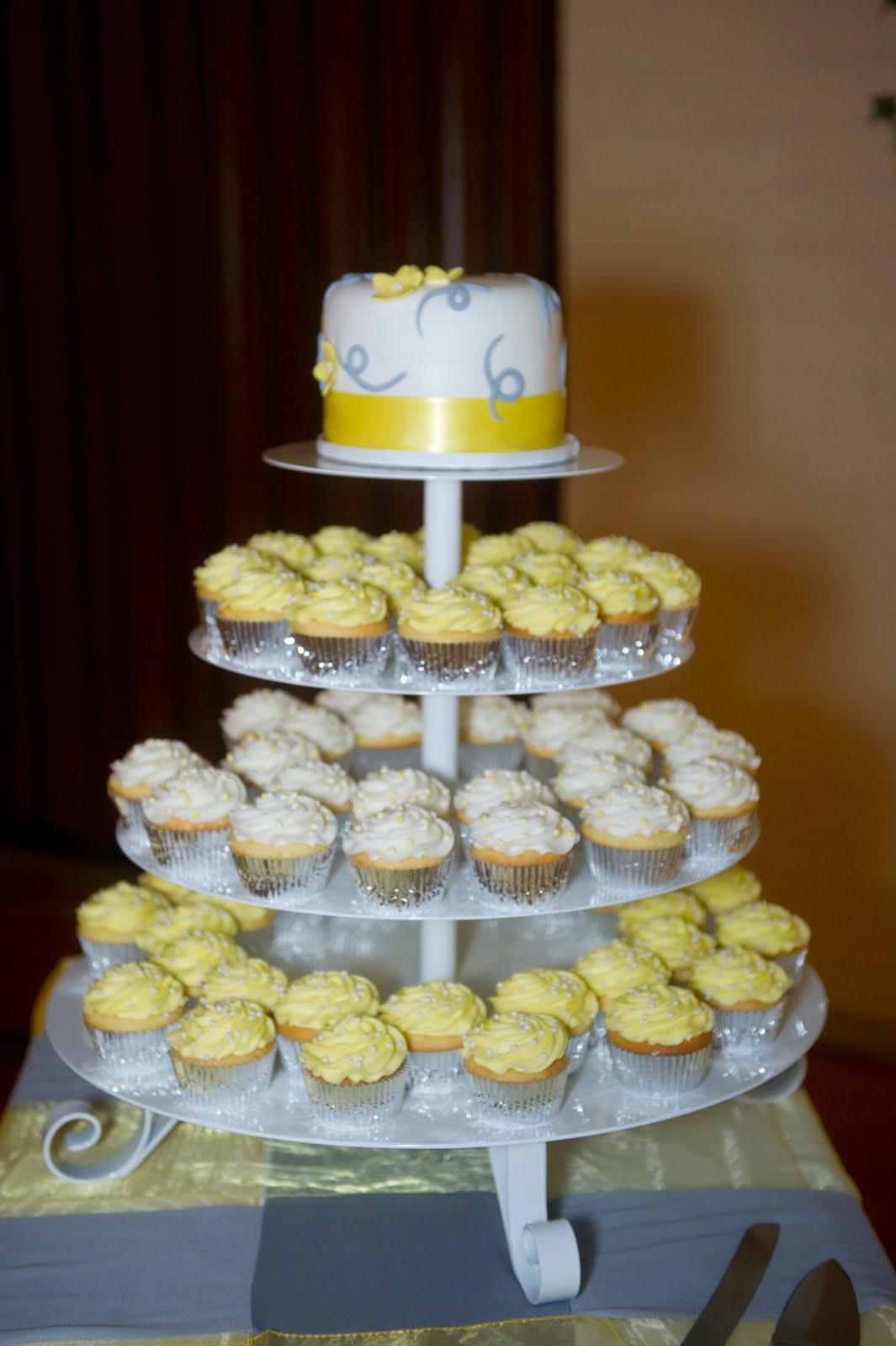 Grey and Yellow Wedding Cake Cupcakes