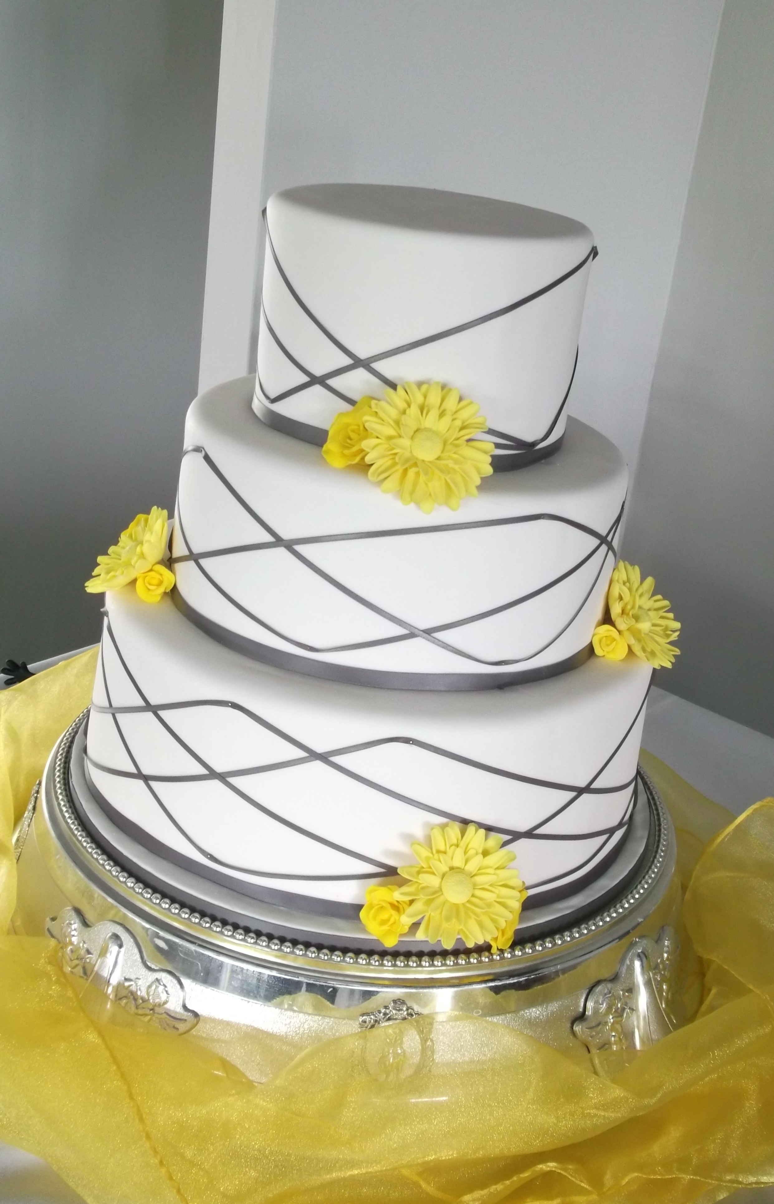 Grey and Yellow Wedding Cake