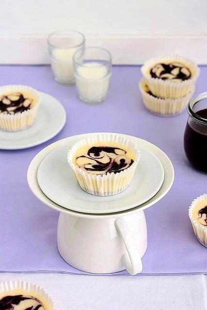 Mini Blueberry Swirl Cheesecakes