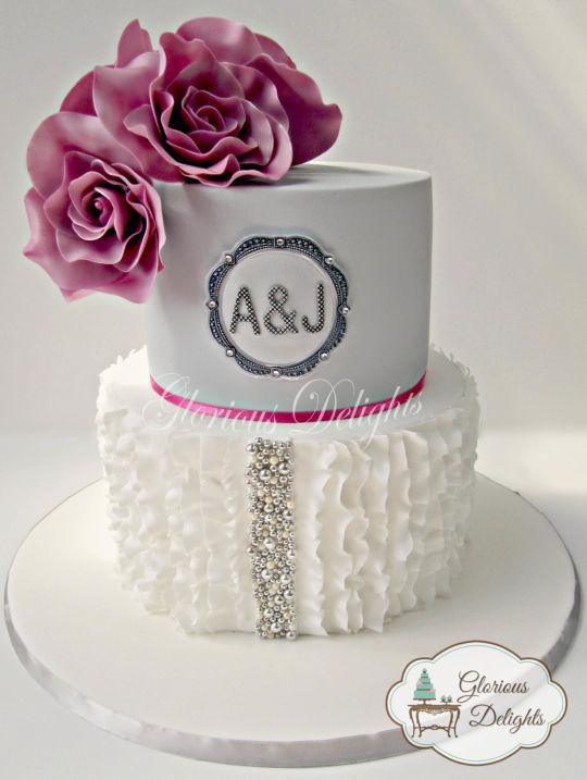 Modern 25th Wedding Anniversary Cake Ruffles