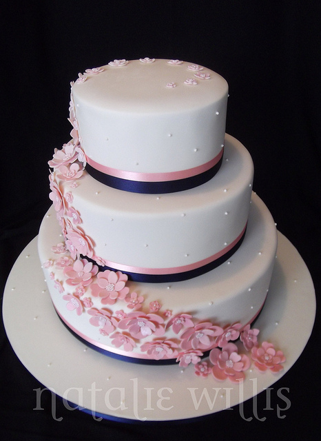 11 Photos of Navy Blue And Pink Pastel Wedding Cakes