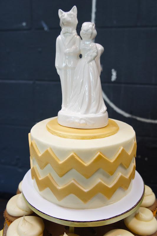 Ombre Chevron Wedding Cake