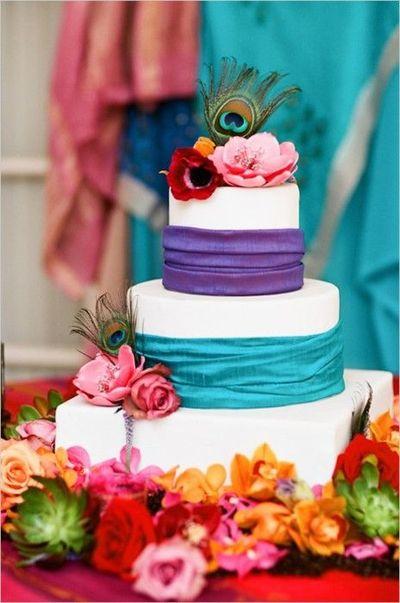 Peacock Color Theme Wedding Cake