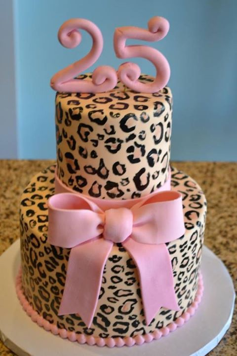 Pink and Leopard Print Cake