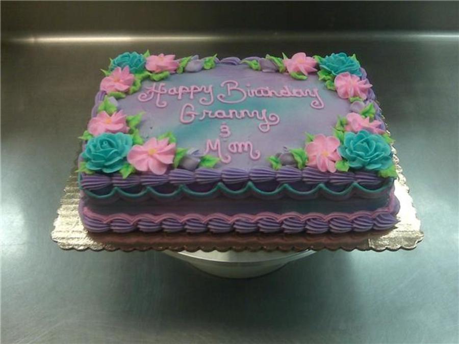Purple Flower Sheet Cake