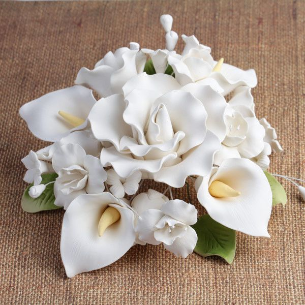 Roses and Calla Lily Wedding Cake Toppers