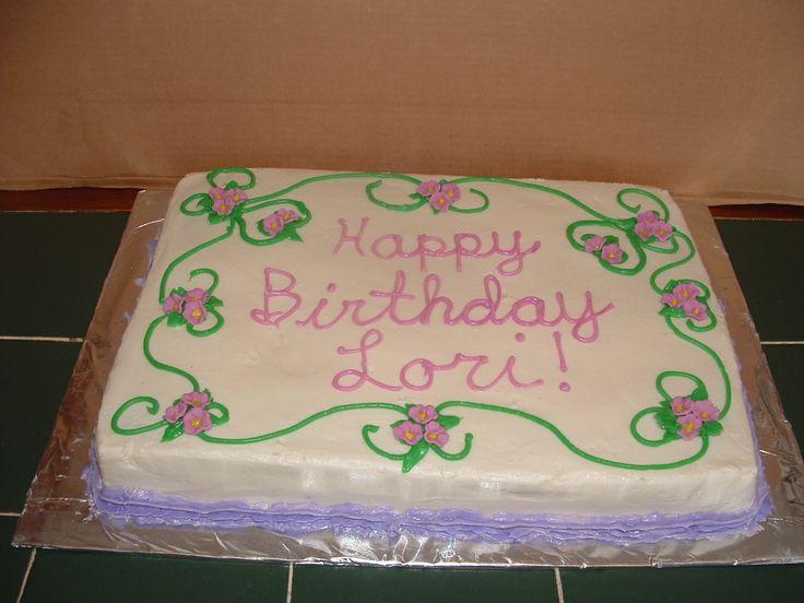 Sheet Cake with Purple Flowers