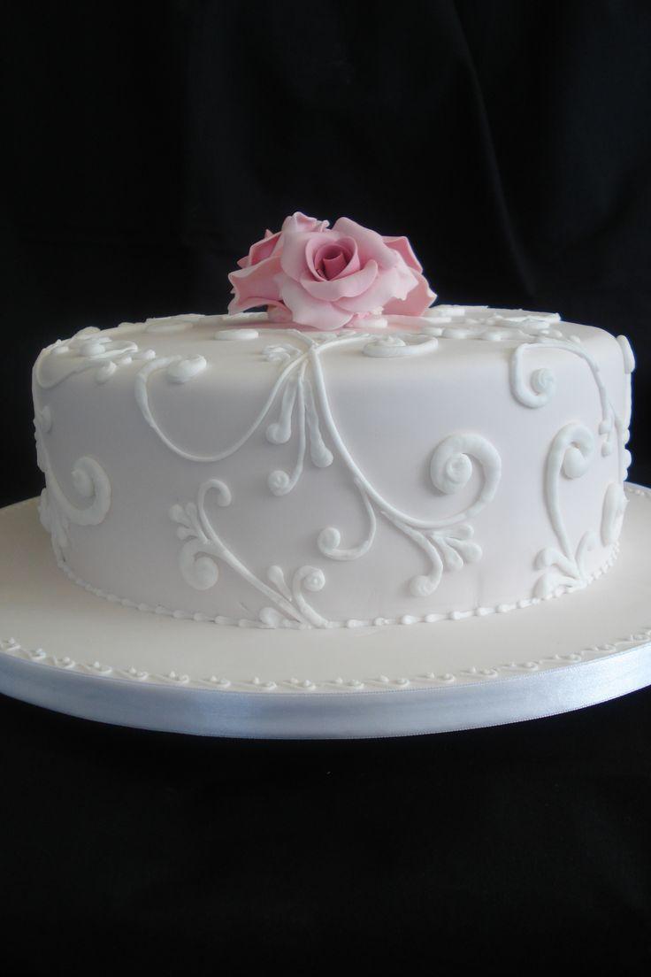 6 Photos of Single Tier Textured Wedding Cakes
