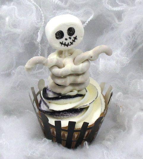 8 Photos of Skeleton Pretzel Cupcakes Halloween Cupcakes Cute