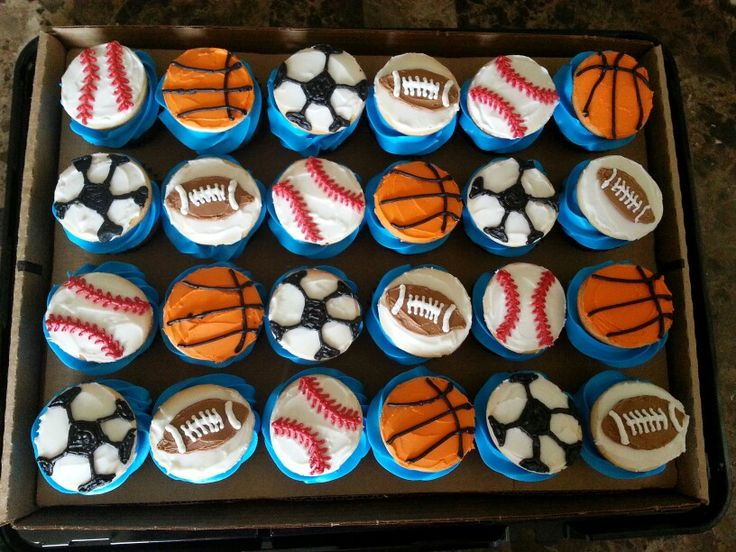 Sports Baby Shower Cupcakes
