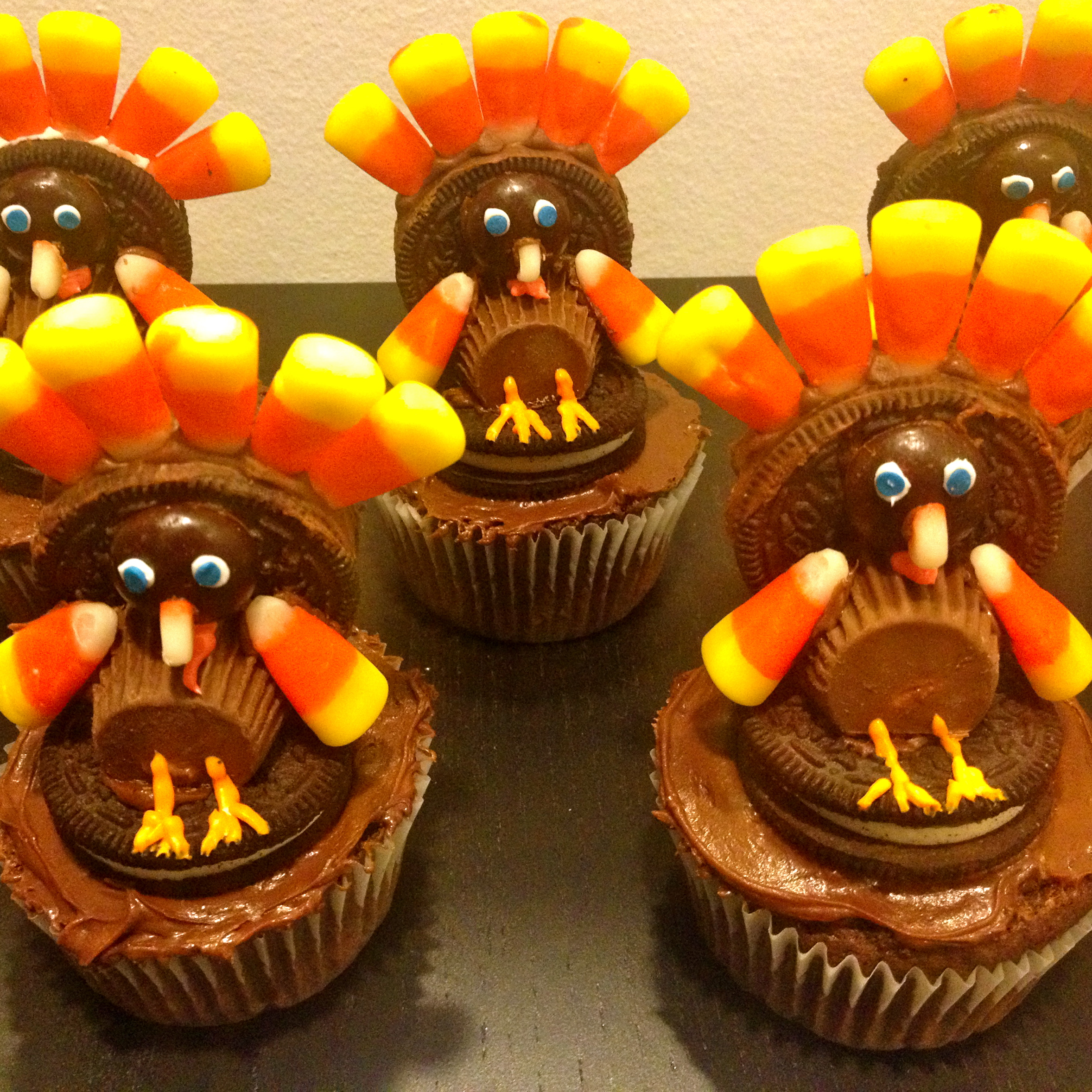 Turkey Cupcakes with Candy Corn