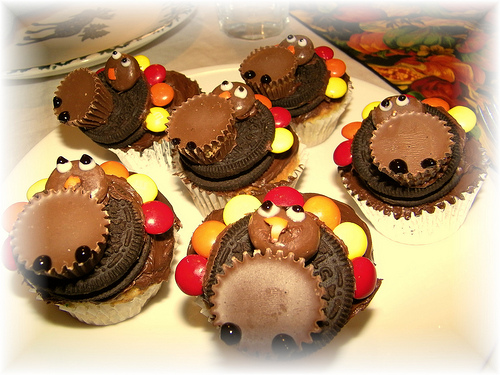 Turkey Cupcakes with Peanut Butter Cups