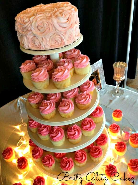 10 Photos of Ombre Wedding Cake And Cupcakes