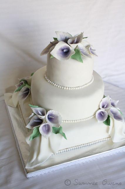 Wedding Cake with Fondant Calla Lilies