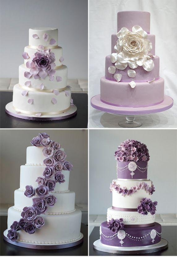 Beautiful Wedding Cake with Purple Flowers