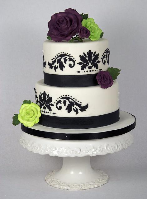 Black White 2 Tier Wedding Cakes
