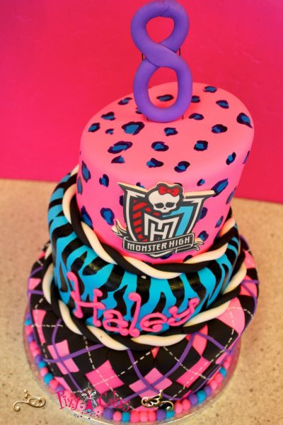 Blue Purple and Pink Girl Birthday Cakes