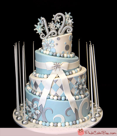 Blue Winter Wonderland Sweet Sixteen Cakes