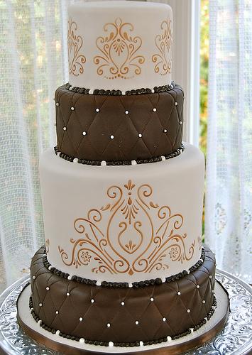 Brown and White Wedding Cake
