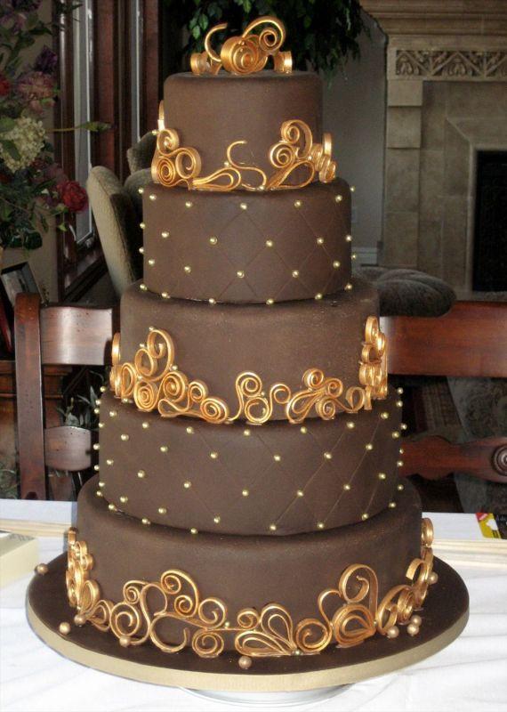 Chocolate Brown and Gold Wedding Cake