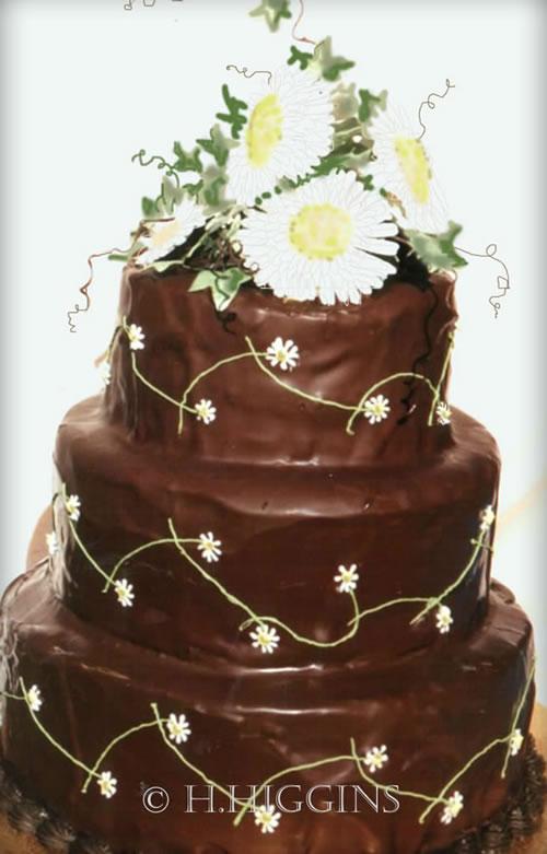 Chocolate Daisy Wedding Cake