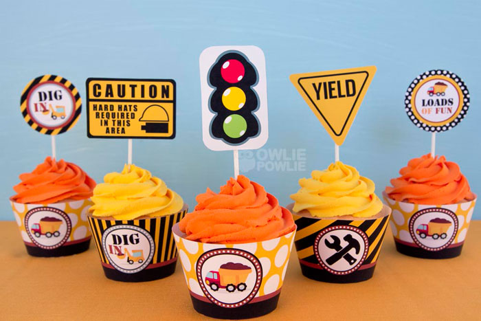 Construction Birthday Party Cupcake Toppers