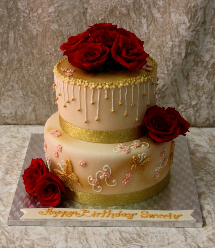 Gold Cake with Red Roses