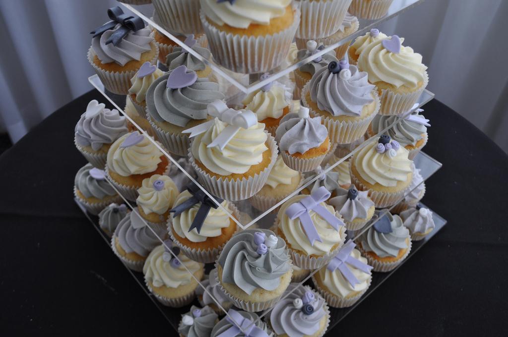 Grey and Lilac Wedding Cupcakes