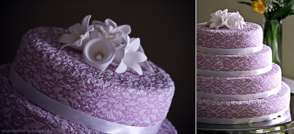 Lace Wedding Cake with Purple Flowers