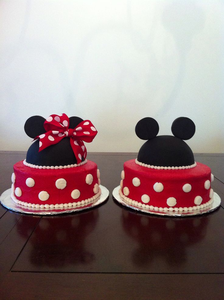 Mickey Mouse and Minnie Twin Birthday Cake