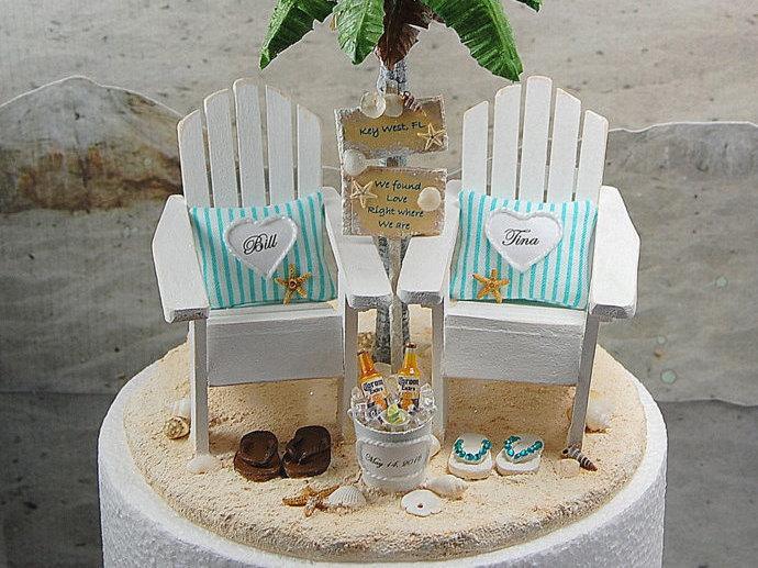 Palm Beach Wedding Cake Topper