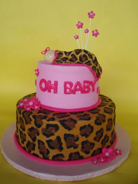 Pink Leopard Print Baby Shower Cake