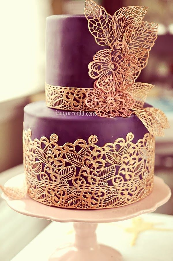 Purple and Gold Wedding Cakes Ideas
