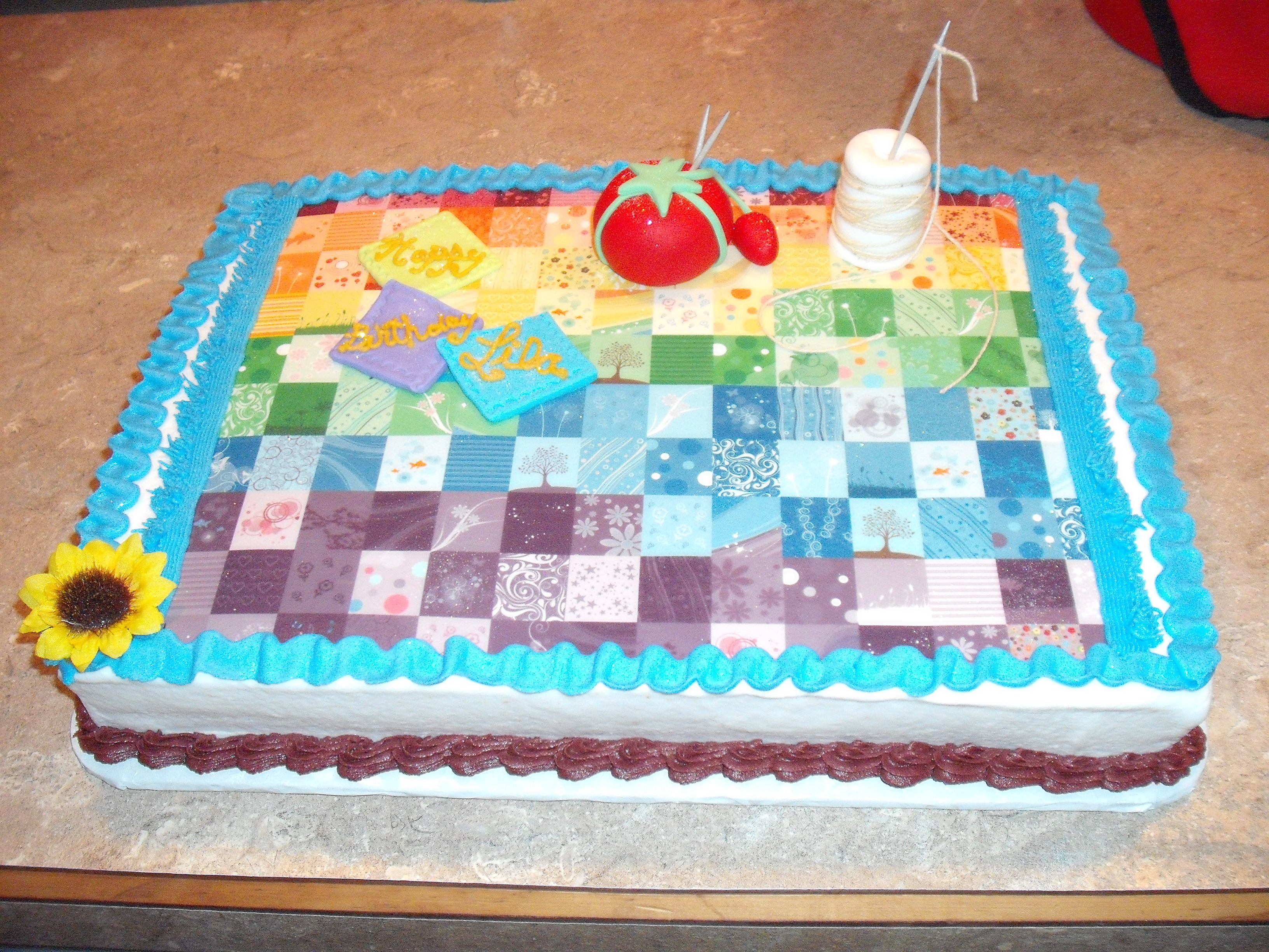 Quilt Themed Birthday Cake