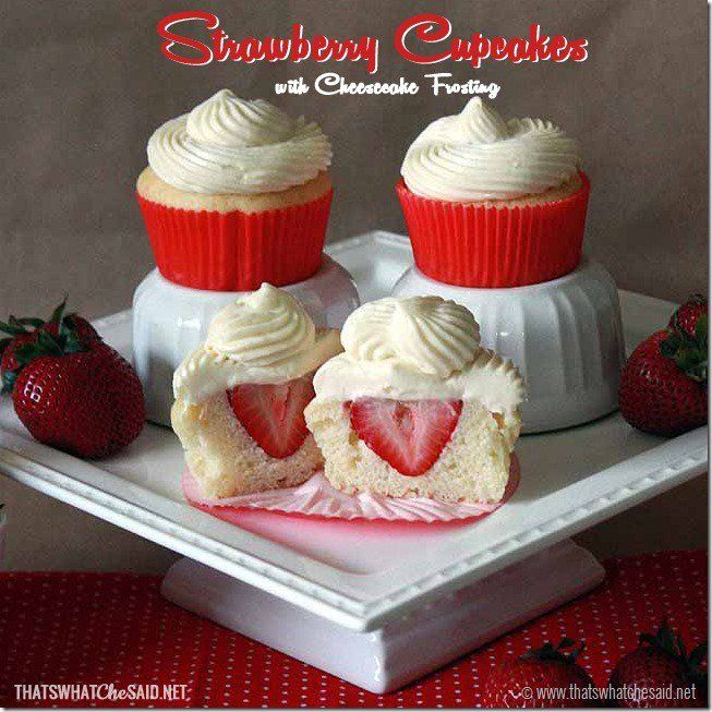 Strawberry Cheesecake Cupcakes with Cream Cheese Frosting