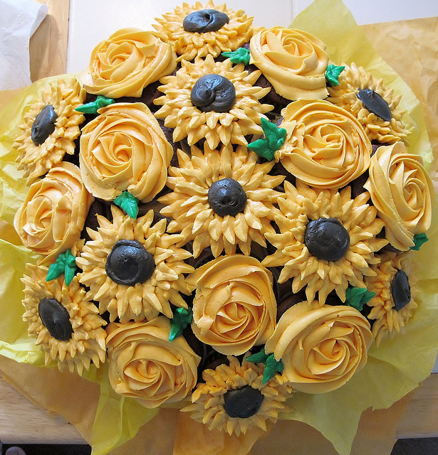 Sunflower and Rose Cupcake Bouquet
