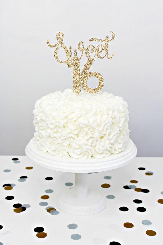 Sweet 16 Glitter Cake Topper