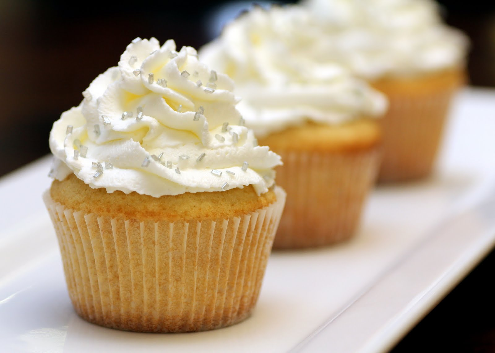 Vanilla Cupcakes with Whipped Cream Frosting