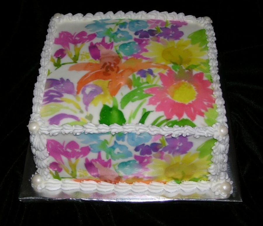 Watercolor Happy Birthday Cake