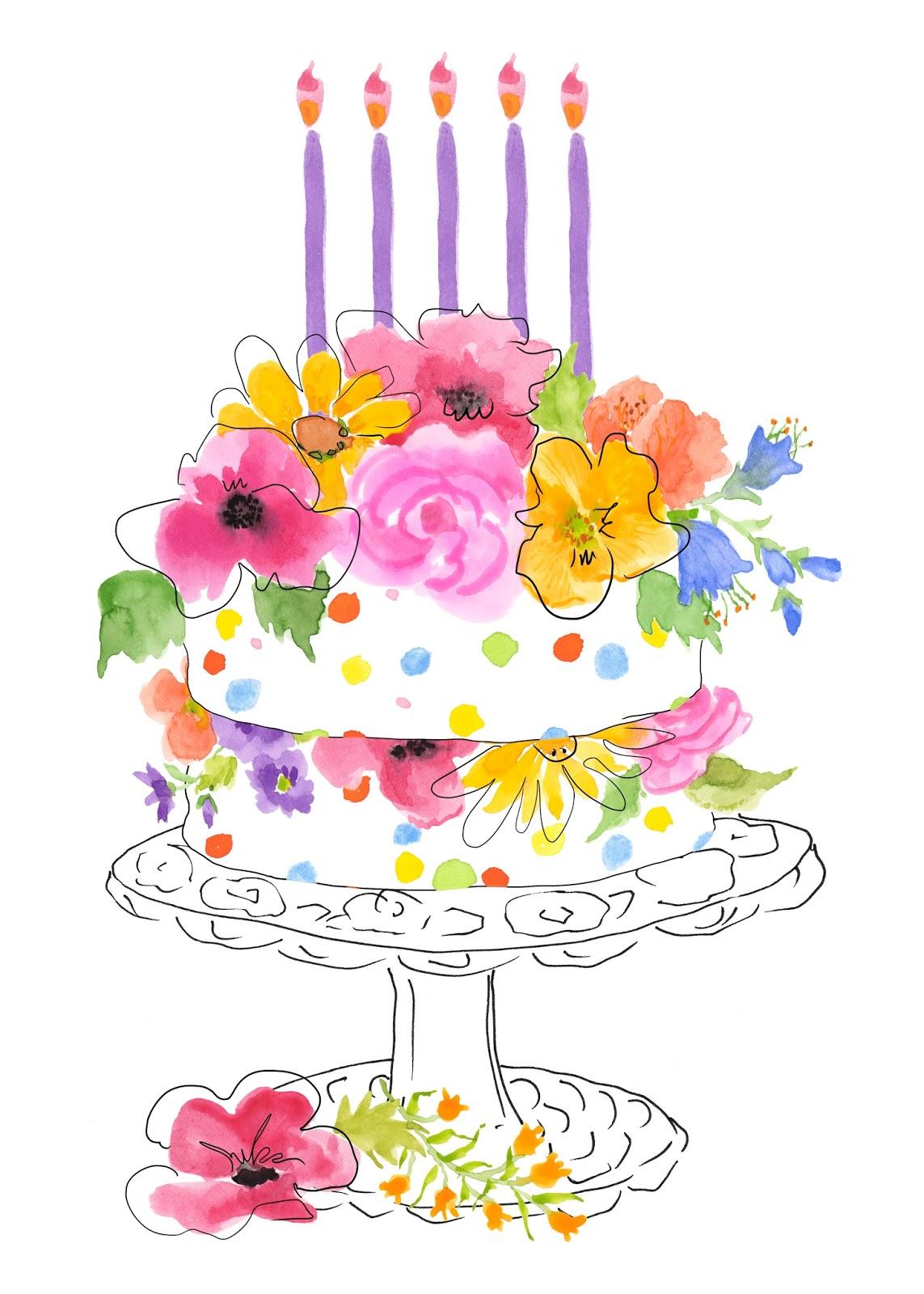 Watercolor Happy Birthday Card