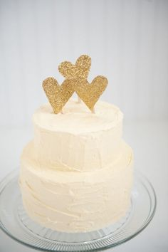 Wedding Cake with Gold Glitter