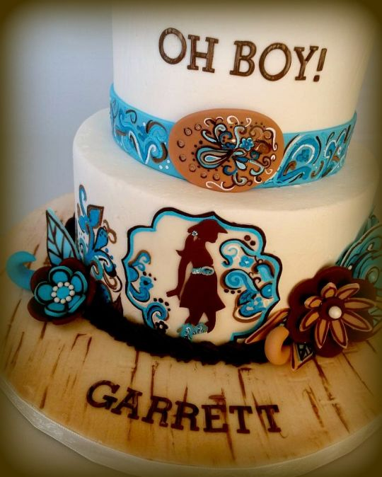 Western Cowgirl Baby Shower Cake