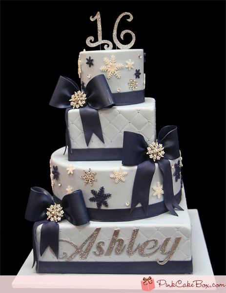 Winter-Themed Sweet 16 Cake