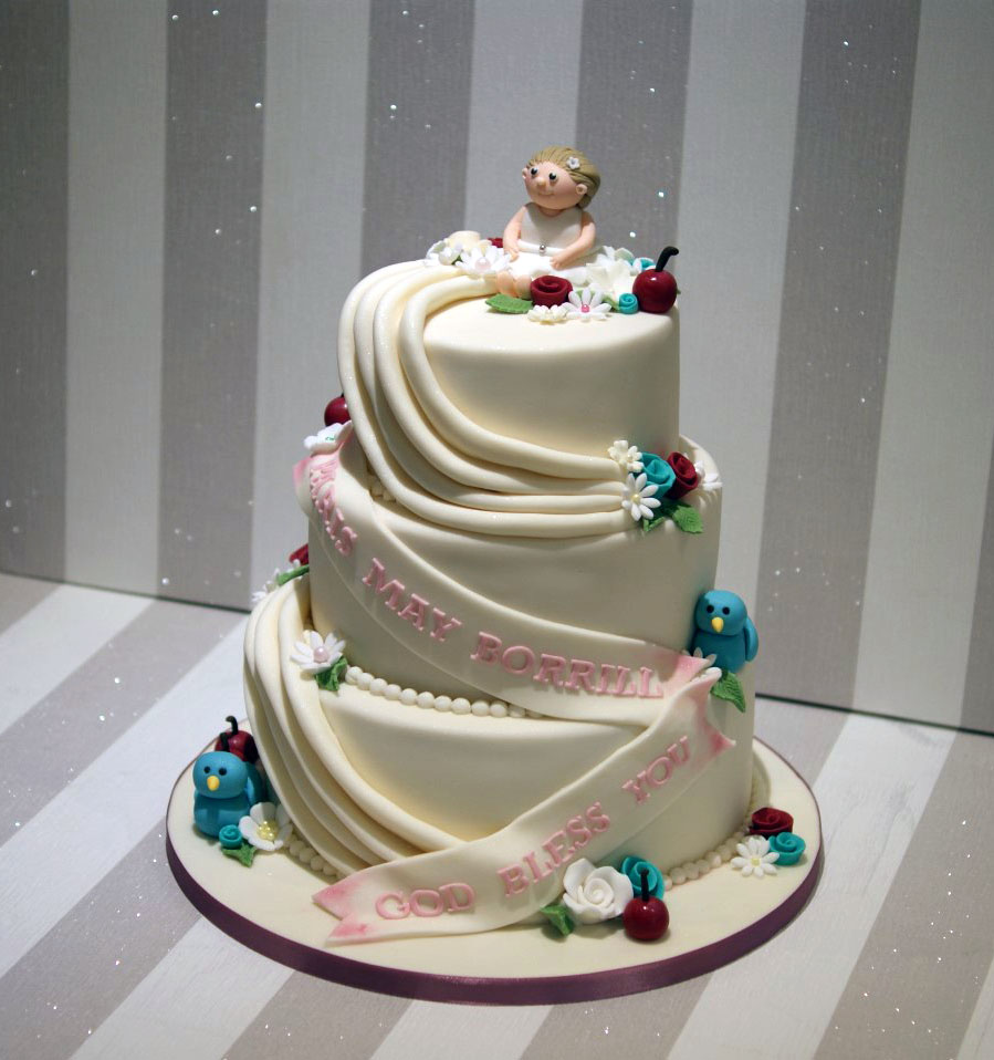 3 Tier Baptism Cake for Girls