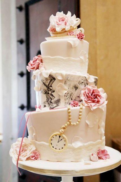 Alice in Wonderland Tea Party Wedding Cake