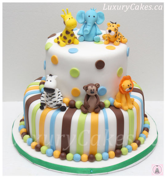Animal Theme Baby Shower Cake
