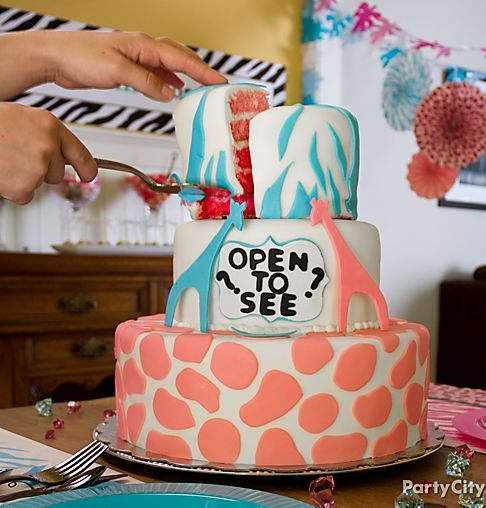 10 Photos of Animal Theme Baby Gender Reveal Cakes