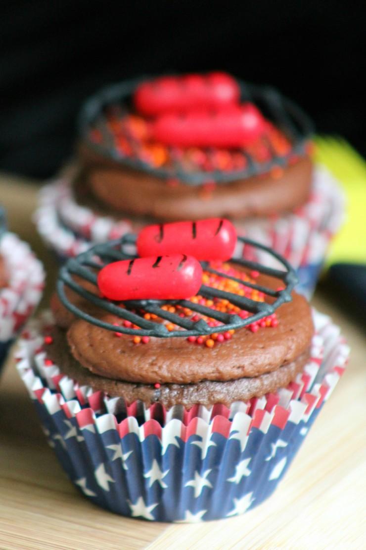 BBQ Hot Dog Cupcakes