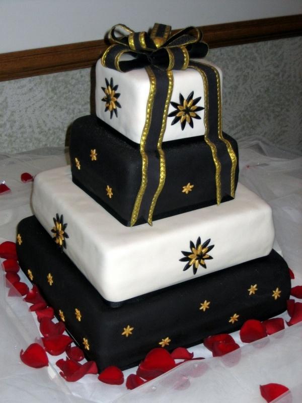 Black Gold and Ivory Wedding Cake
